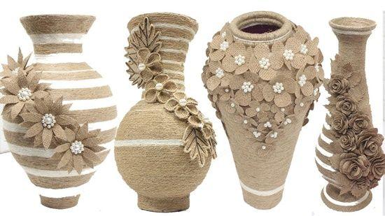 DIY Florero hecho con yute y botellas