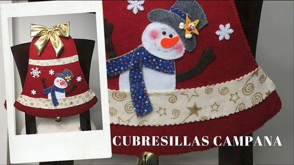 Campana de navidad cubre sillas moldes gratis