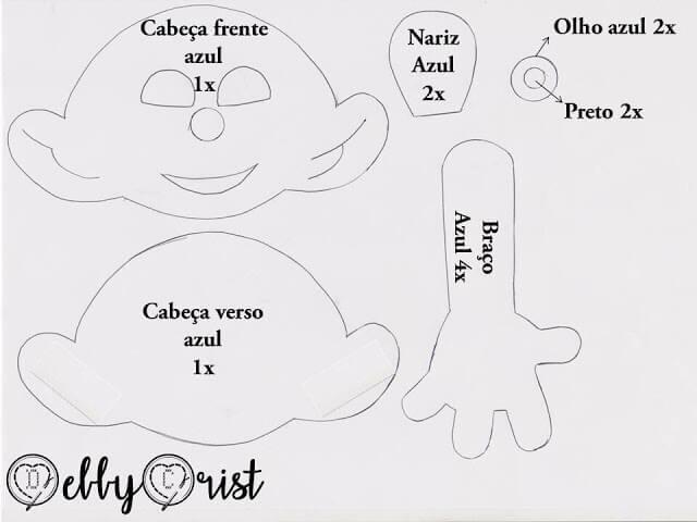 Muñeco Pitufo de fieltro con moldes gratis (2)