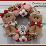 Molde corona navideña galletitas en fieltro