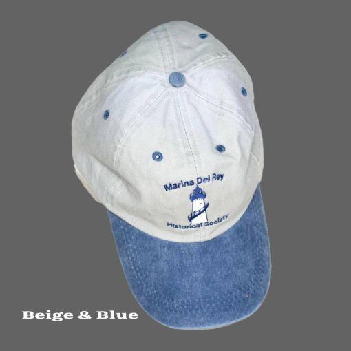 Beige and Blue Baseball Cap