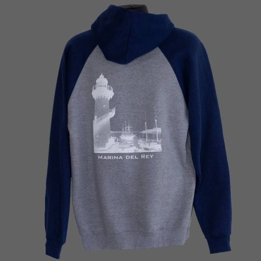 Gray and blue hoodie back with society logo