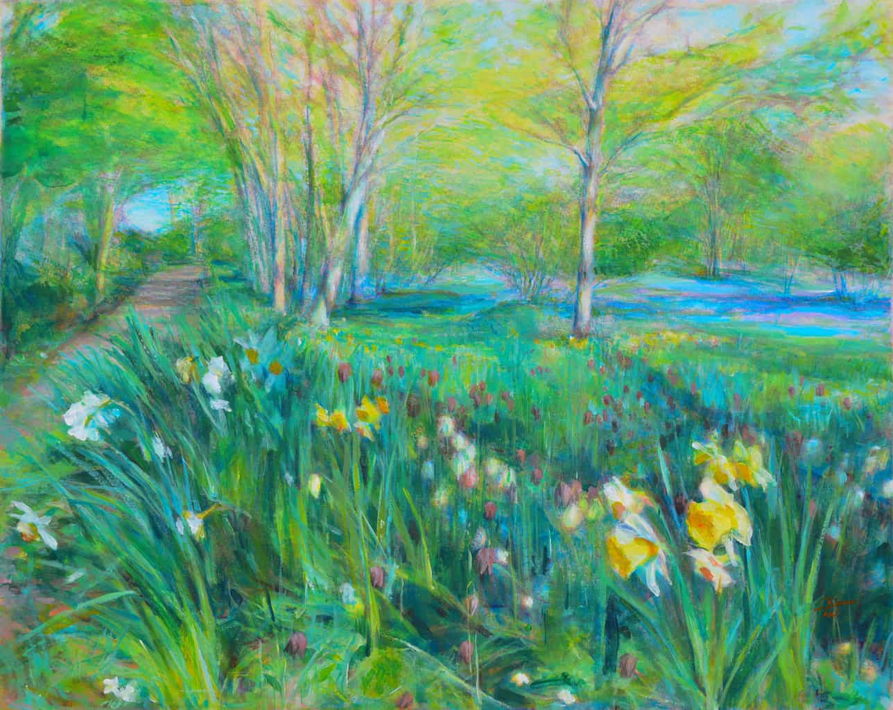 """""""Farthingfield"""" - picture of the woods in Spring, in bright green, blue and yellow colours. English countryside. Original print monotype by British painter printmaker Marina Kim"""