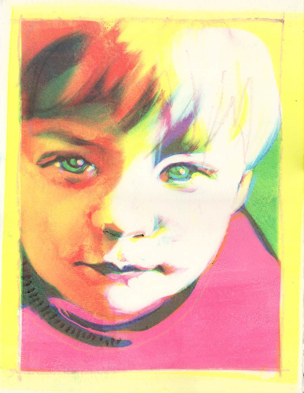 Portrait of Tommy Field. Monotype. Portrait artist Marina Kim