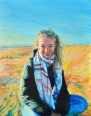 Portrait of Fiona Windsor in Rye Harbour. Portrait commission by British artist Marina Kim