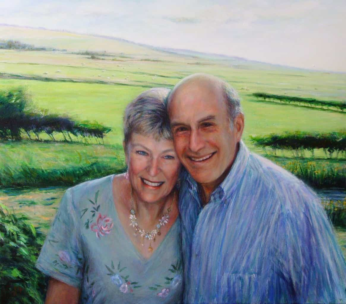 Portrait of Janet and Steve Denny. Commission portrait by Marina Kim
