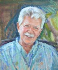 Portrait of John Wenburg. Oil on canvas. Portrait commission by artist Marina Kim