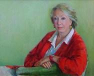 Portrait of Anne Phillips by British portrait painter Marina Kim. Oil on canvas