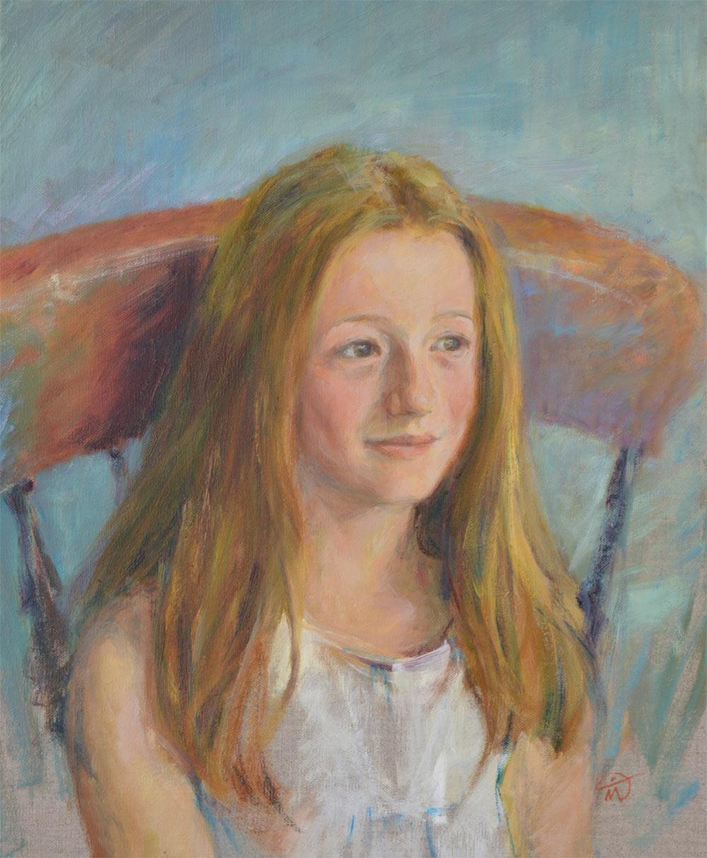 Portrait of Bella Elliott. Oil on canvas. Commission portrait portfolio. Marina Kim