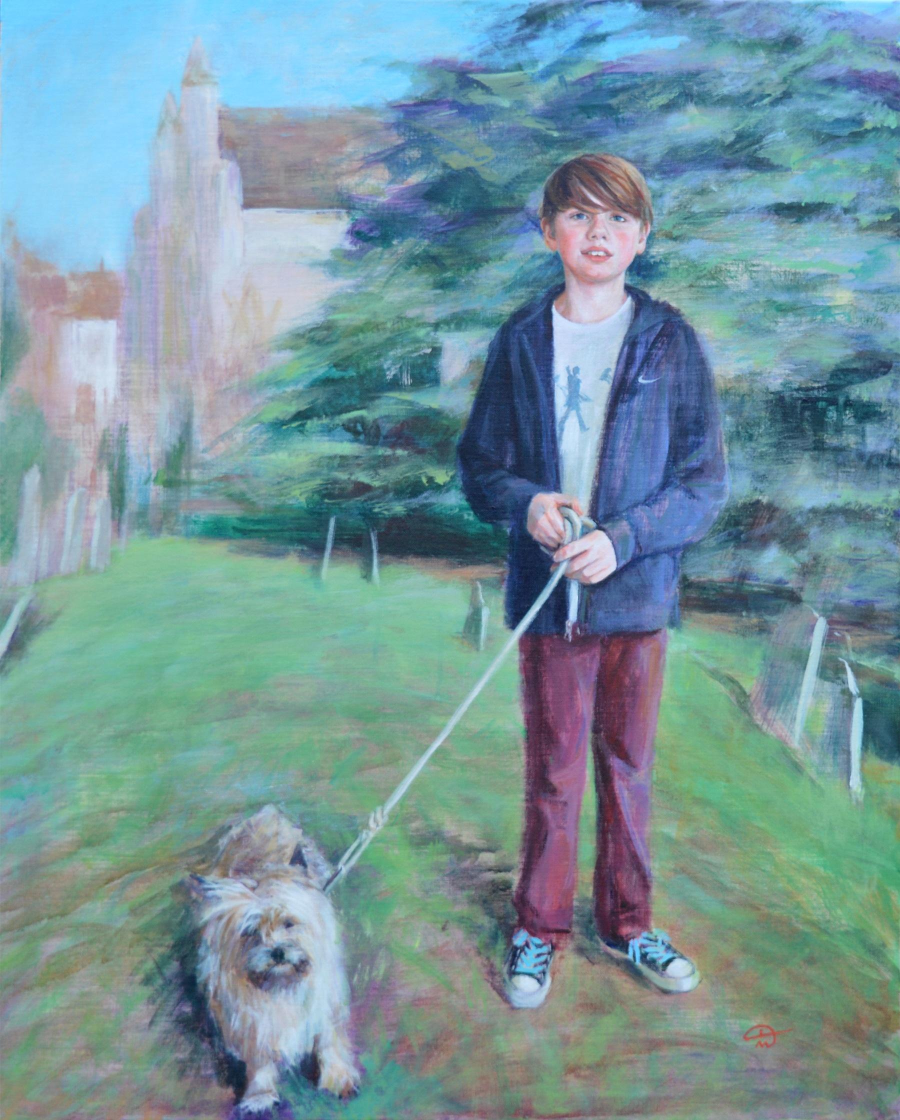 Portrait of Benji and Jack. Acrylic on canvas. Portrait commission by artist Marina Kim