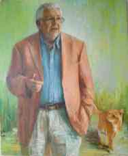 Portrait of Chris Cotter with Mango the Cat. Oil on canvas. Portrait commission painting by Marina Kim