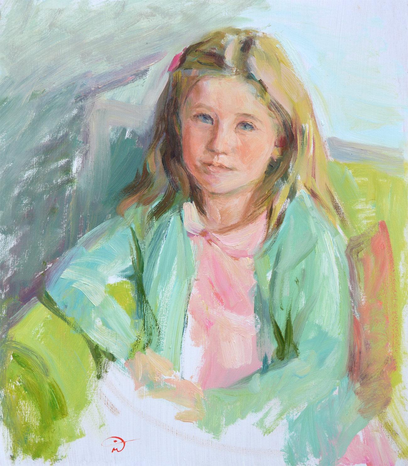 Emily. Portrait study in oil on board. Portrait commission portfolio of the British artist Marina Kim