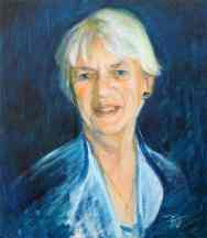 Portrait of Jean Floyd. Oil on canvas. Portrait commission painting by Marina Kim