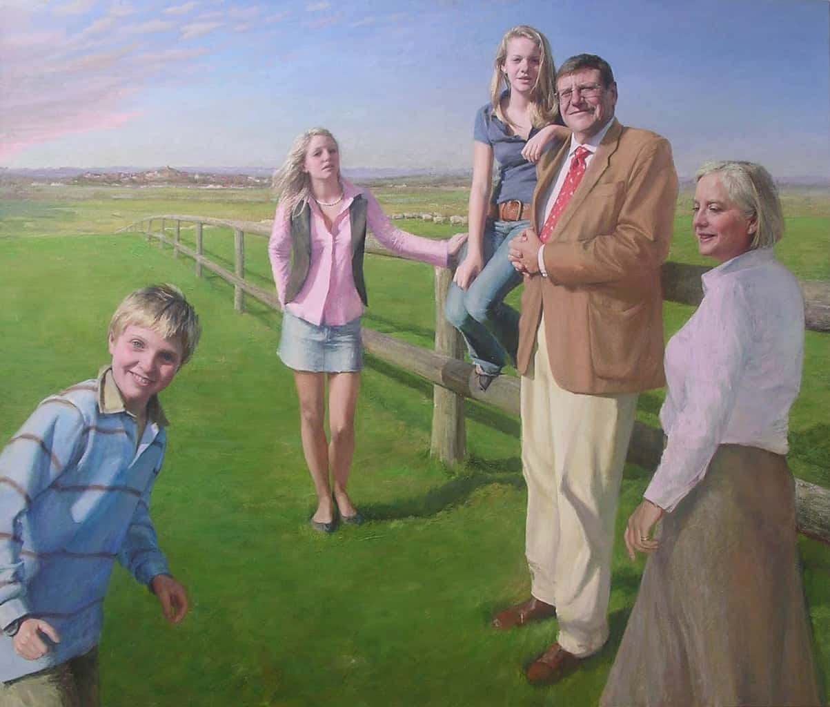"""""""The Neilson Family"""" Large family portrait painting in oil on canvas by British portrait artist Marina Kim"""