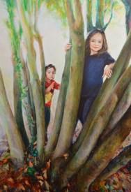 Mia and Iris. Portrait commission in oil on canvas. Portrait artist Marina Kim