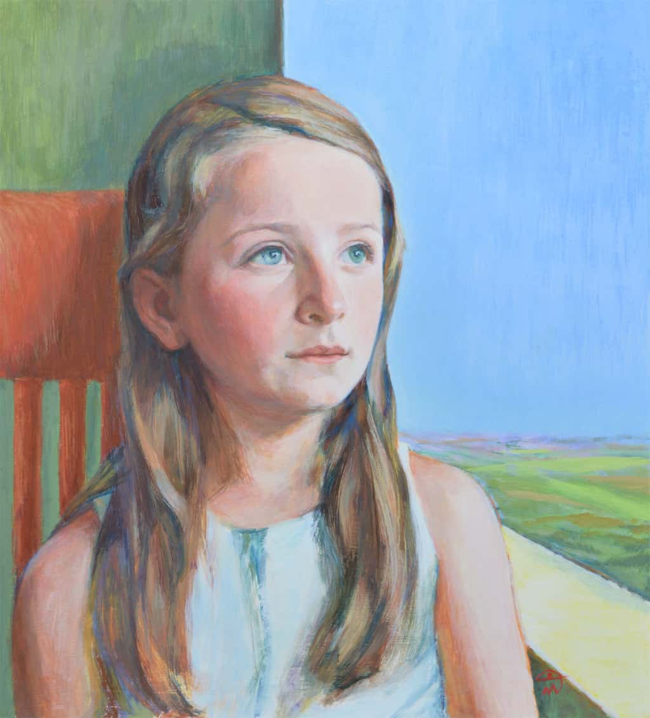 Portrait of Alice. Tempera on board. Portrait commission by the British artist Marina Kim