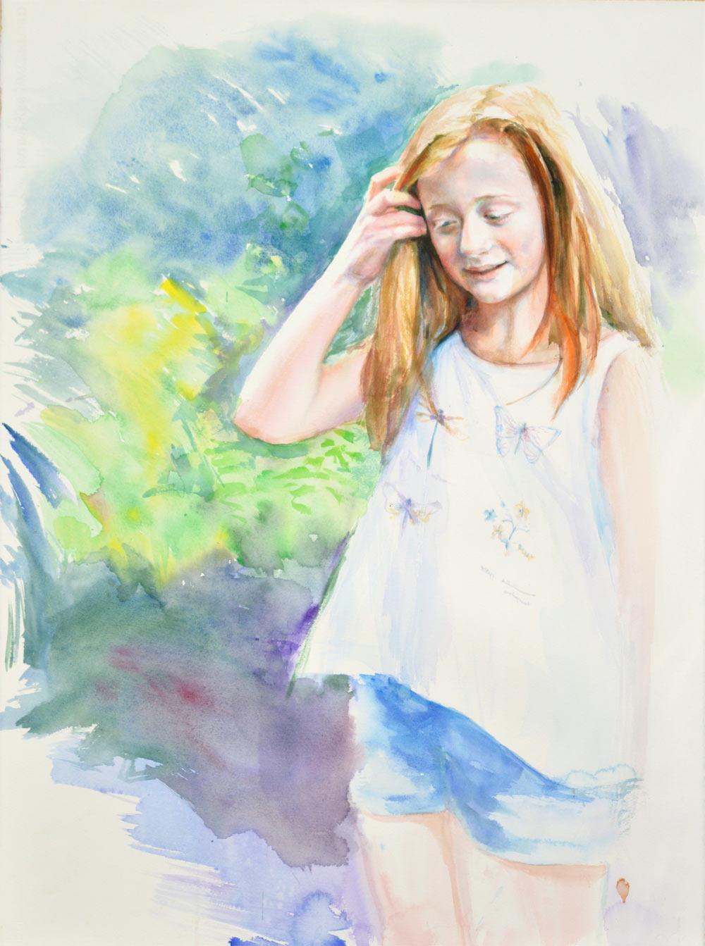 Portrait of Bella. Watercolour on paper. Commission portrait portfolio. Marina Kim