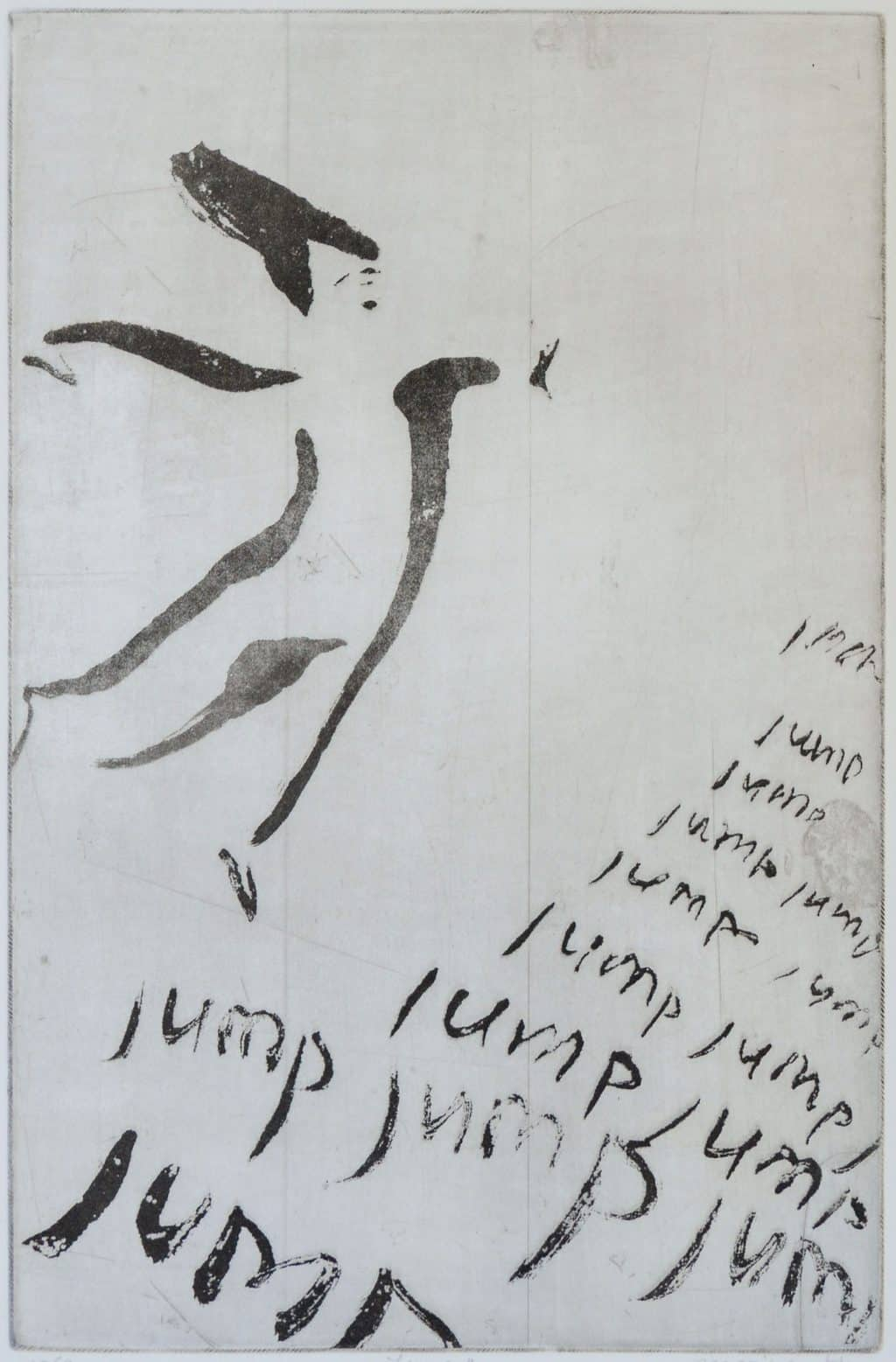 """""""Jump"""" - A light brush drawing of a figure leaping into the air with the words """"jump"""" underneath. Original print sugar-lift aquatint by painter-printmaker Marina Kim"""