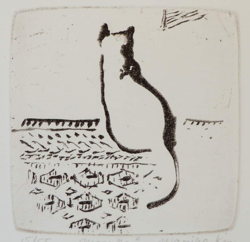 """Scent"" - brush drawing of a cat sitting on a rug. Original print sugar-lift aquatint by painter-printmaker Marina Kim"