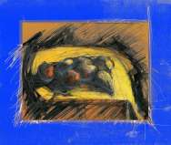 """""""Thinking of Cezanne"""" Black yellow and red image of apples on a bright blue background. Digital print based on a drawing by painter-printmaker Marina Kim"""