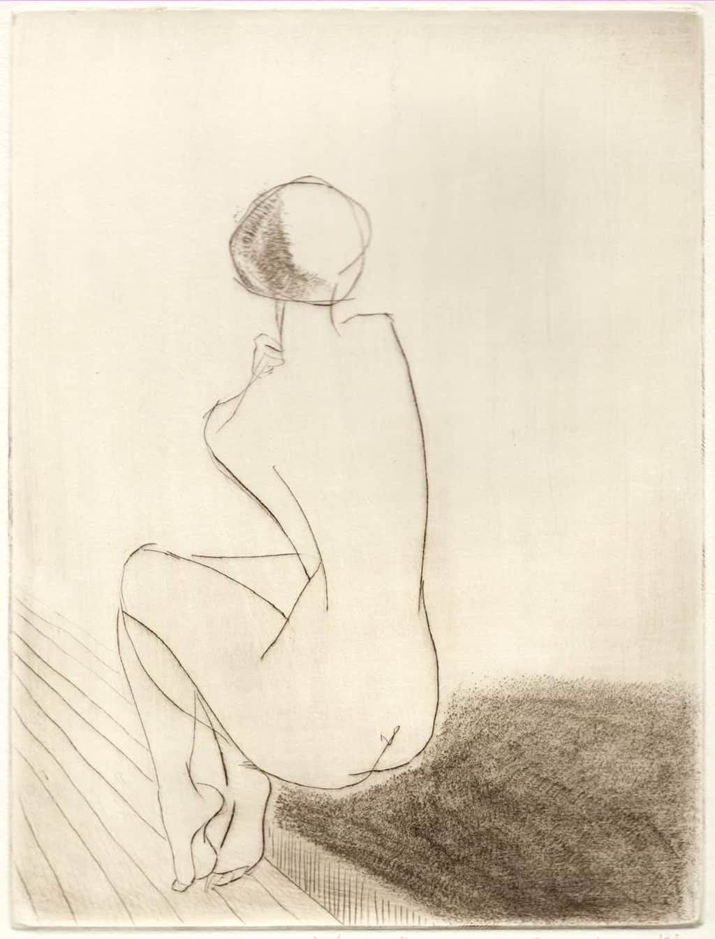 """Mistress"" - line drawing of a female nude. Original print drypoint by British painter-printmaker Marina Kim"