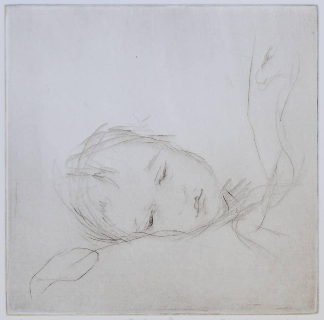 """Asleep"" - line drawing of a baby fallen asleep on mother's shoulder. Original print drypoint by artist Marina Kim"