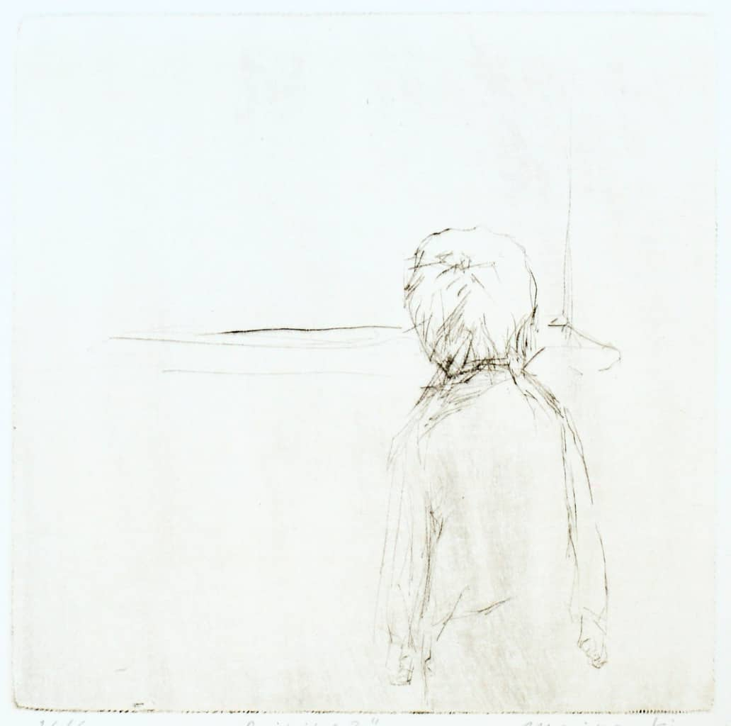 """""""Raining?"""" - line drawing of a boy standing in front of a window looking out. Original print drypoint by painter-printmaker Marina Kim"""