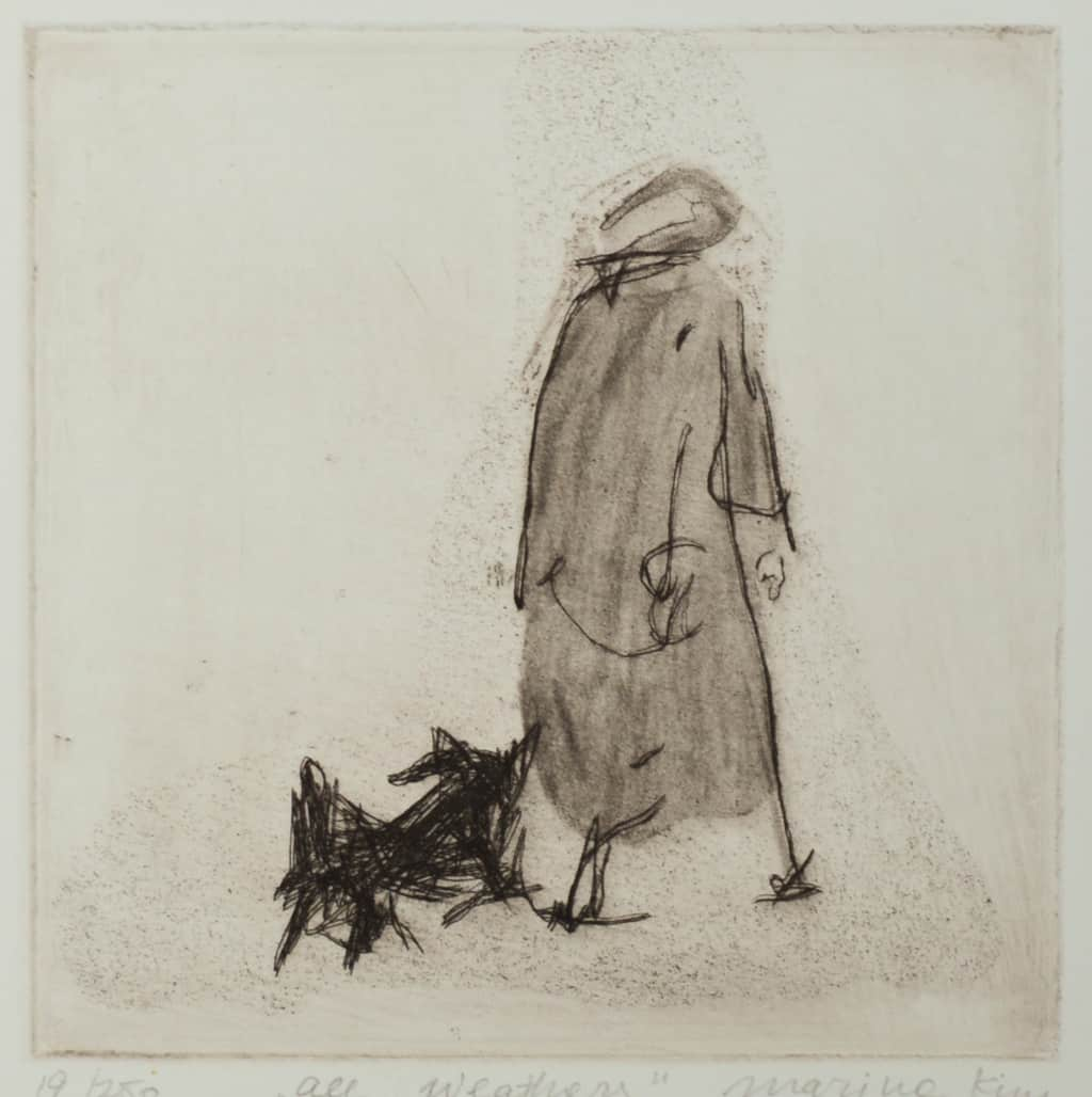 """""""All Weathers"""" - drawing of an old lady in a coat walking a little dog. Original print etching by British painter-printmaker Marina Kim"""