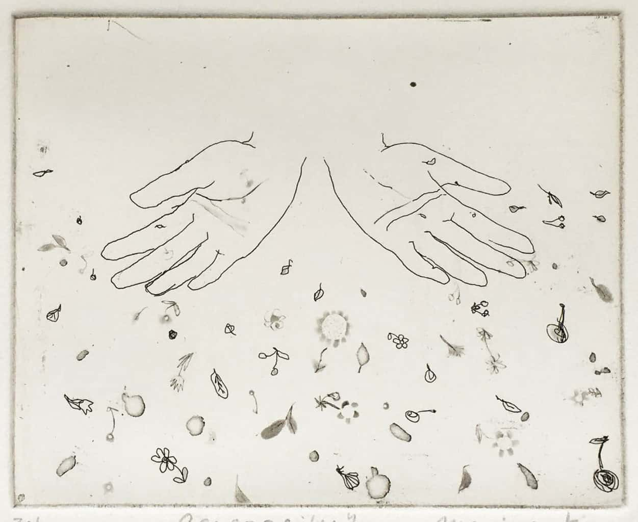 """""""Generosity"""" - image from the """"Hands"""" series featuring various stances of gesturing hands. Original print etching by painter-printmaker Marina Kim"""