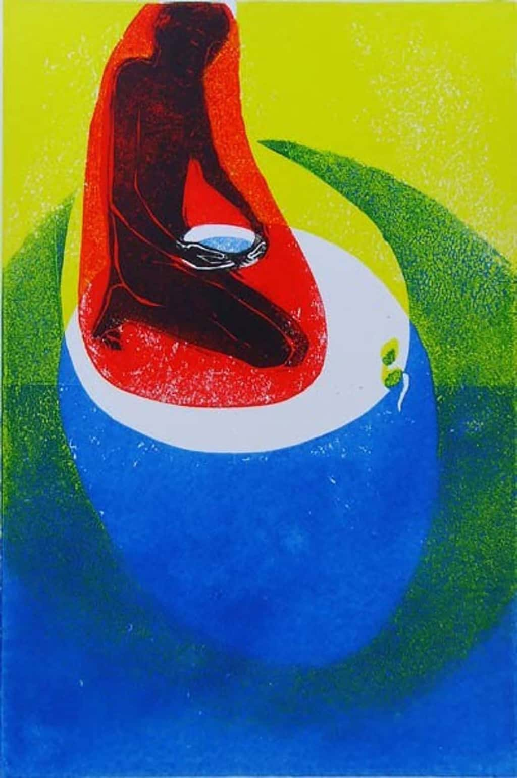 """""""Water"""" - picture of a boy watering a seed, in bright primary red, blue and yellow colours. Original print linocut by painter-printmaker Marina Kim"""