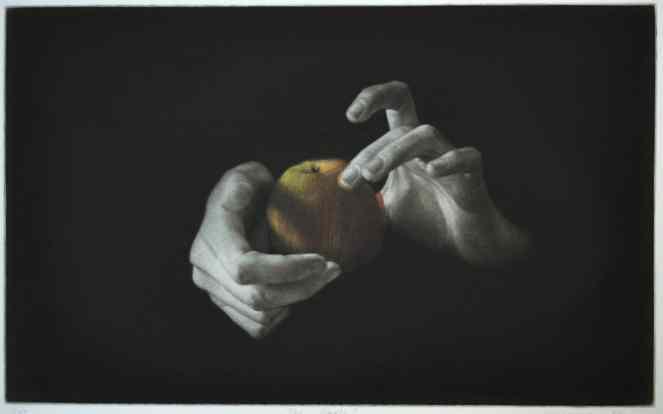 """Apple"" Mezzotint original print by British painter-printmaker Marina Kim"