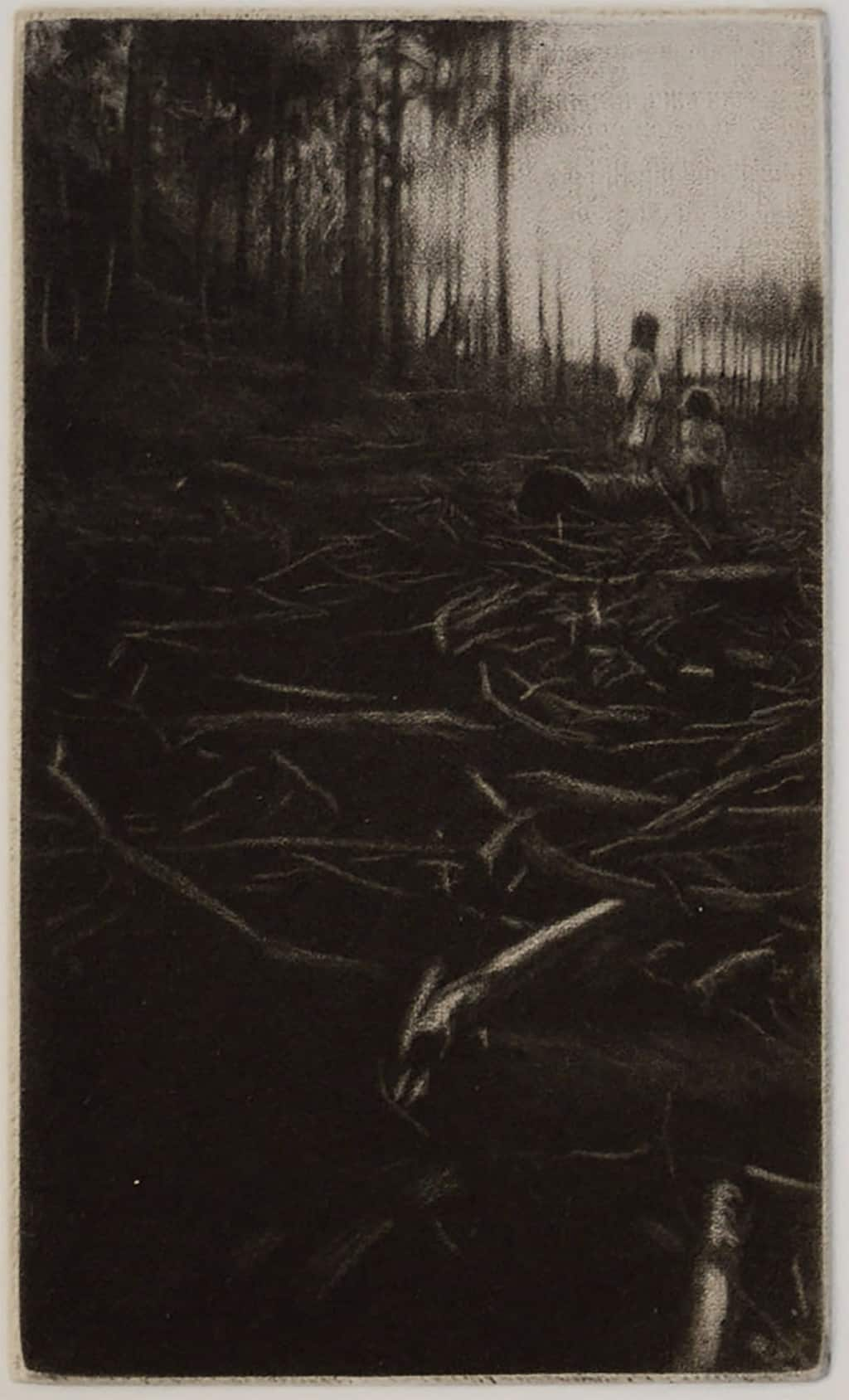 """""""The Clearing"""" - picture of two children standing in the clearing in the forest. Original print mezzotint by painter-printmaker Marina Kim"""
