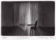 """""""Freedom"""" - Black and white picture of a chair in front of a doorway with curtains blown by the wind. Original print mezzotint by painter-printmaker Marina Kim"""