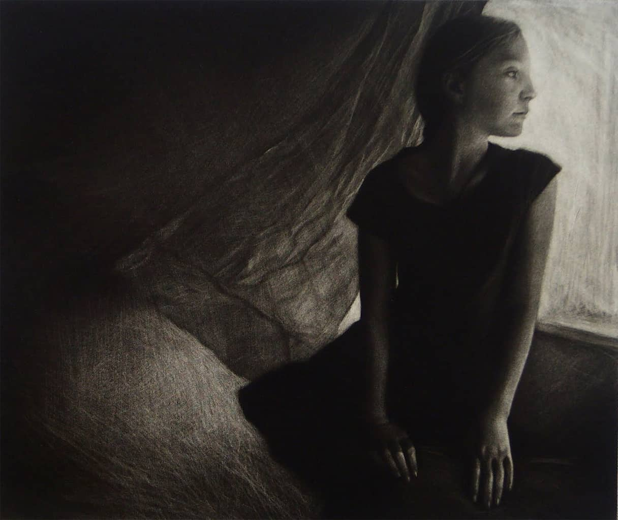 """""""Girl by the Window"""" - black and white portrait picture of a young girl standing by the window. Original print mezzotint by painter-printmaker Marina Kim"""