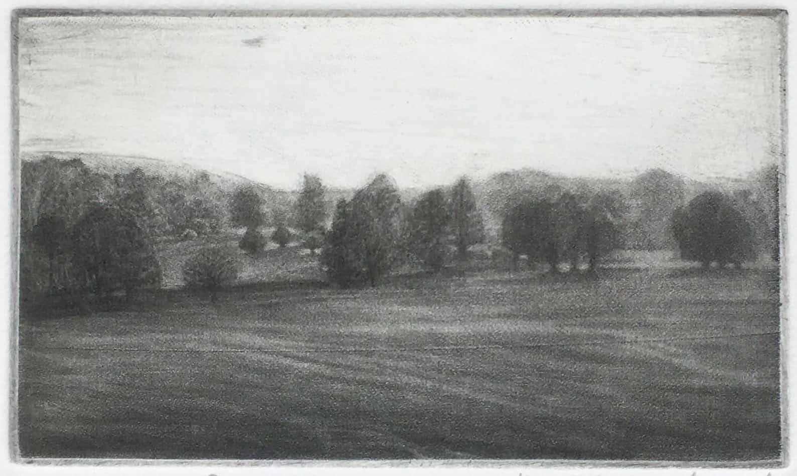 """Scotty Chase"" - black and white landscape of the English countryside manor park. Original print mezzotint by painter-printmaker Marina Kim"