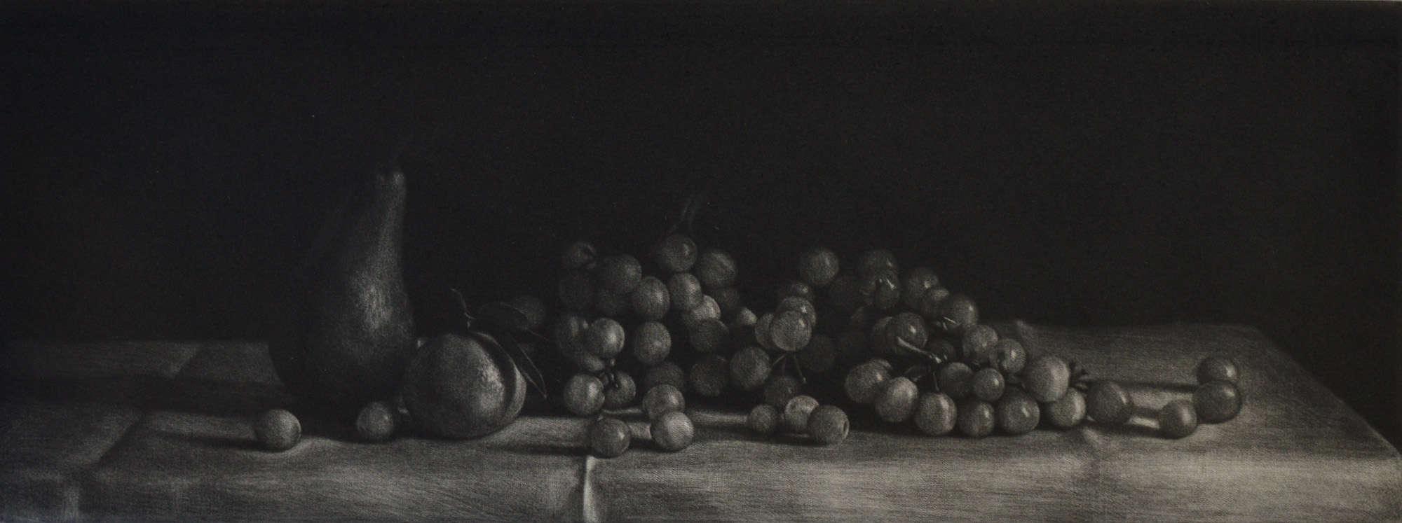 """Grapes"" - black and white still life with grapes, pear and mandarin on linen cloth. Original print mezzotint by painter-printmaker Marina Kim"