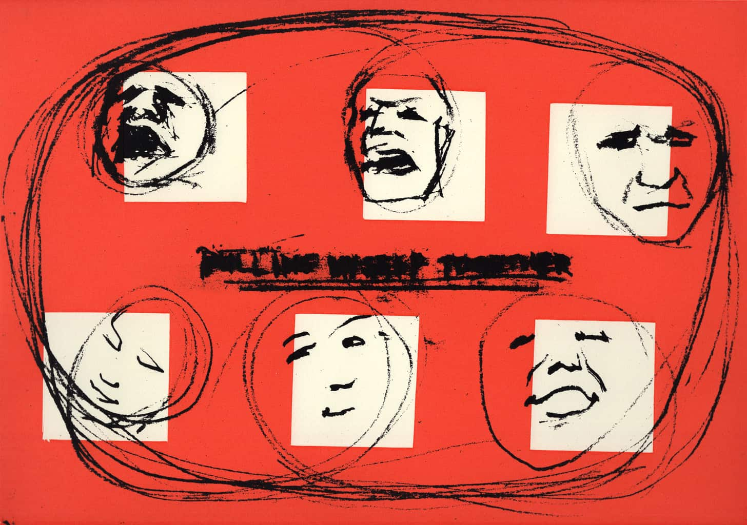 """""""Pulling Myself Together"""" Drawings of six faces in emotional turmoil in red, black and white colours. Original print silkscreen by painter-printmaker Marina Kim"""