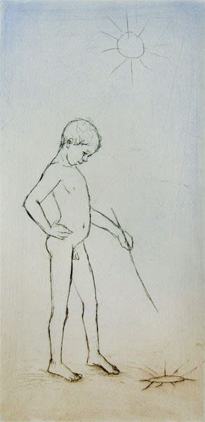 """""""Artist by the Sea"""" 2 - picture of a boy on the beach, drawing with a stick on sand. Original print drypoint by artist Marina Kim"""