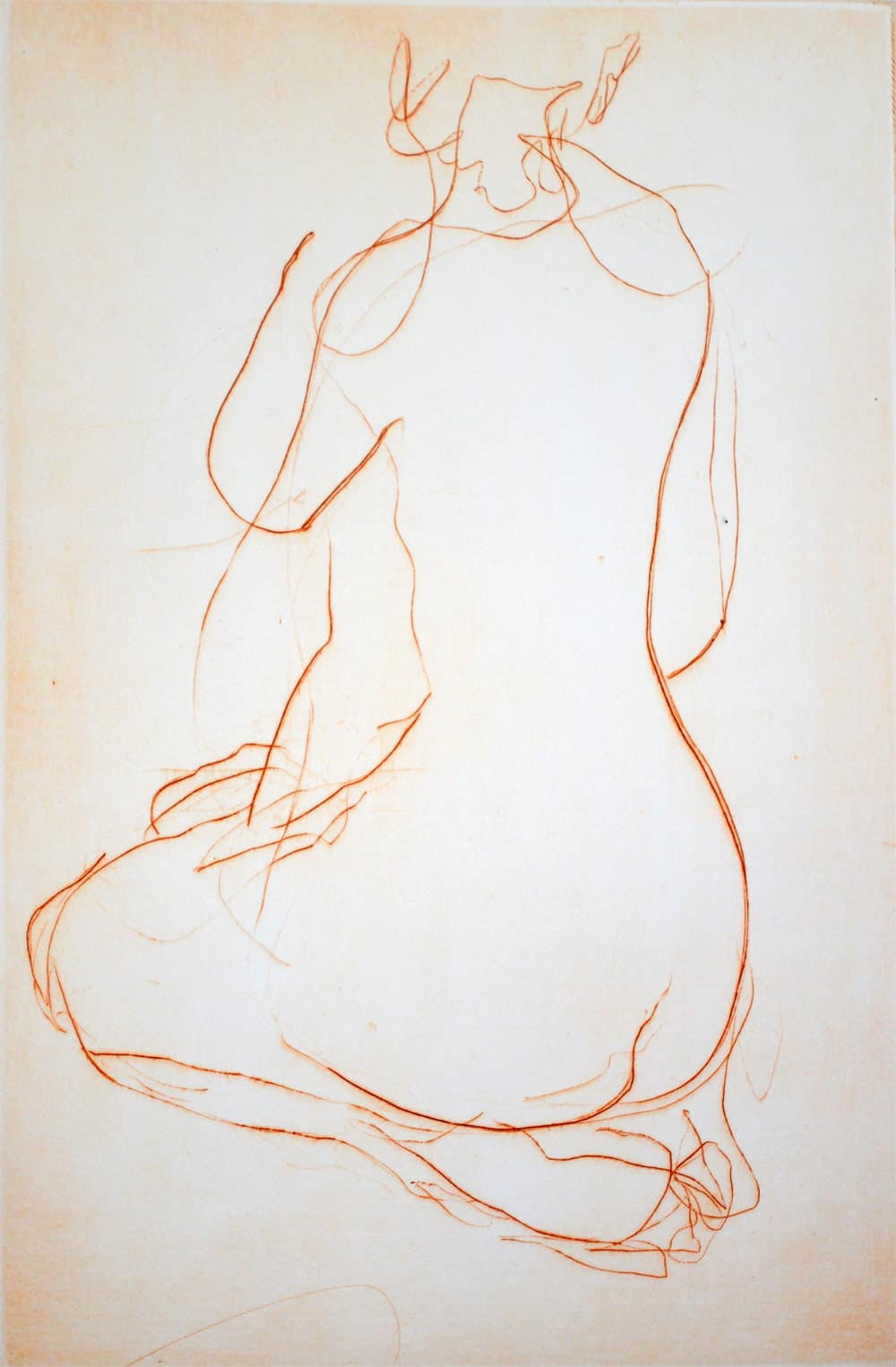 """""""Jade"""" - line drawing of a female nude model kneeling with her back to the viewer. Original print drypoint by painter-printmaker Marina Kim"""