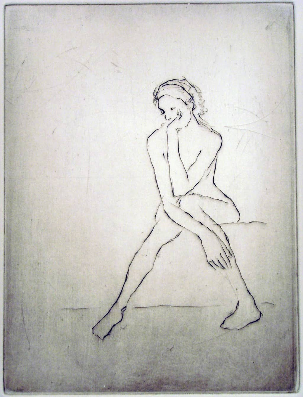 """""""Untitled Nude"""" - line drawing of a lanky nude model in a thoughtful sitting pose"""