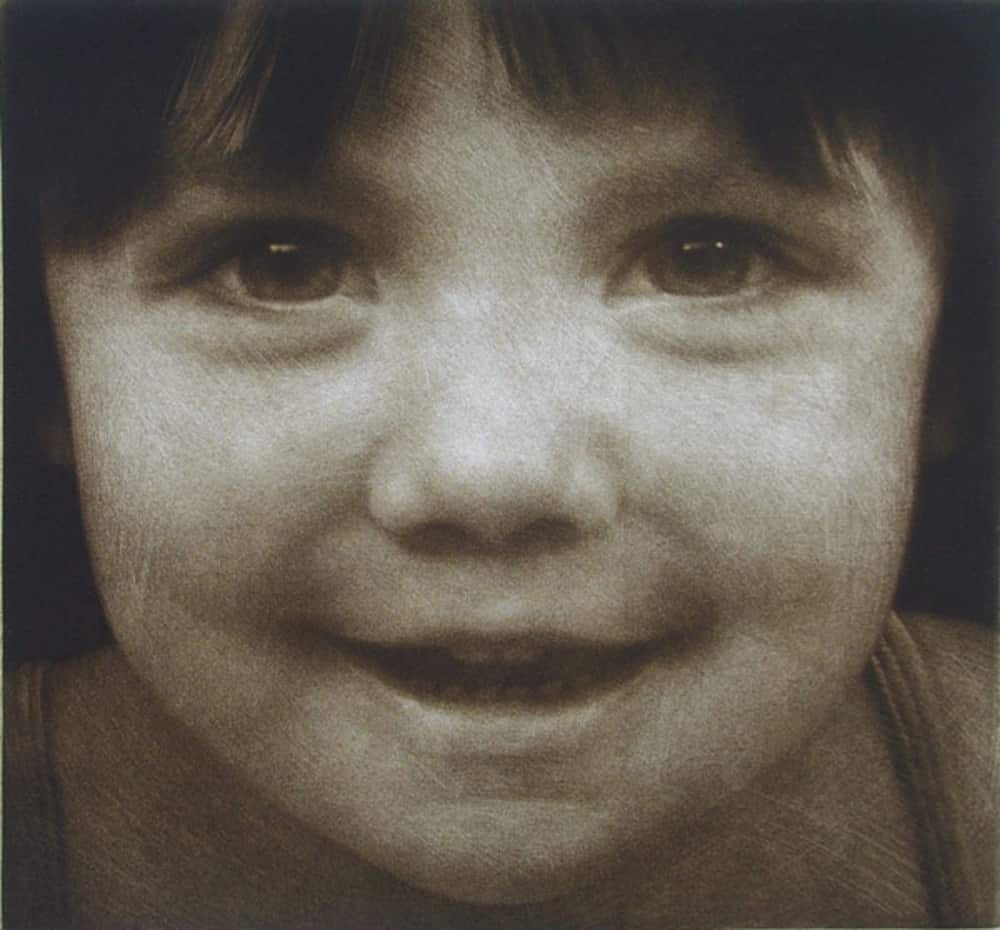 """""""Alina's Faces"""" 2 or """"Pick-a-Boo""""- Portrait of a young girl with playful expression. Black and white picture. Original print mezzotint portrait by portrait artist Marina Kim"""