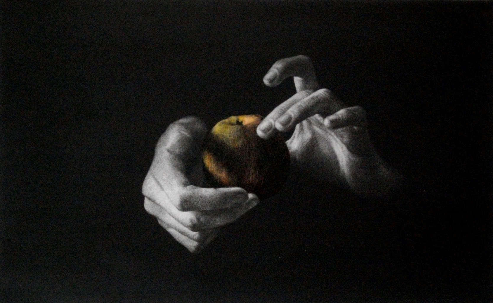 """""""Apple"""" - Picture of hands holding an apple, on a black background. Right part of the triptych. Original print mezzotint with Chine Colle by painter-printmaker Marina Kim"""