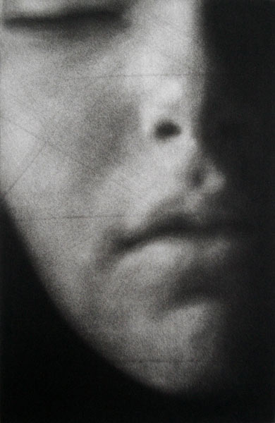 """""""Eve"""" 1 - Fragment of a woman's face (model Eve Delf) with eyes closed on a black background. Original print mezzotint by painter-printmaker Marina Kim"""