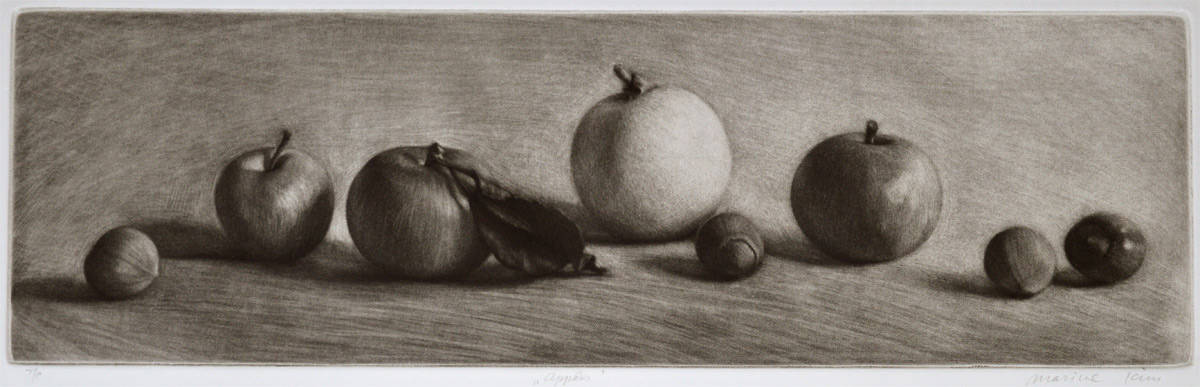 """""""Still-life with Apples"""" - black and white drawing of apples and nuts. Original print mezzotint by painter-printmaker Marina Kim"""