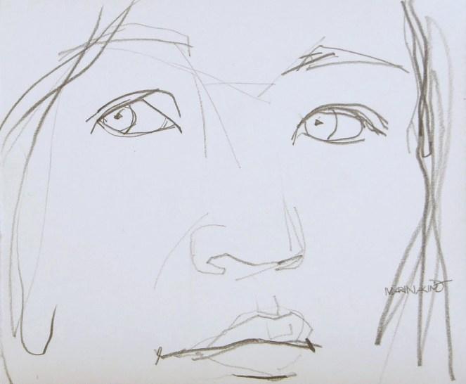 Self-portrait, drawing in pencil on paper by British artist Marina Kim