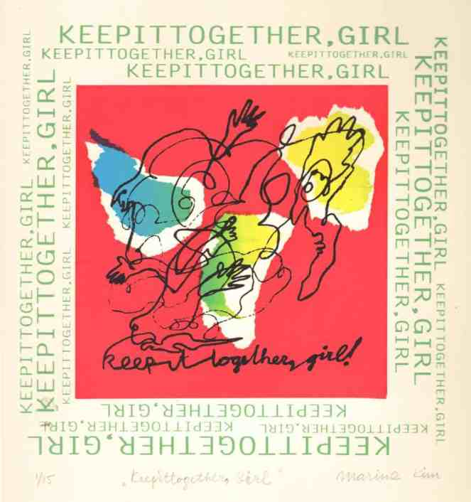 """Silkscreen print titled """"Keep It tOgether, Girl"""" in bright red, blue, yellow and white colours with black line drawing."""