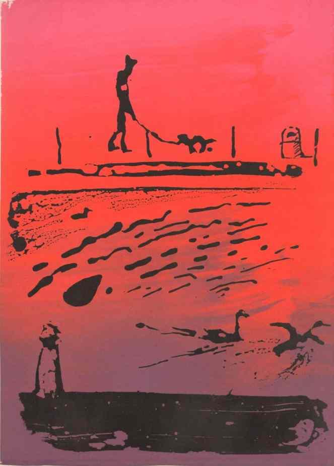 Brush sketch of a river, geese, man walking a dog. Silkscreen print.