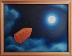 """Quadro """"Dalla Terra alla Luna"""" di Marina Ravaioli - olio e tecnica mista su legno - 30x23cm incorniciato. Proiettile di rame sparato verso la Luna"""