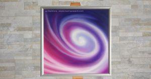 """""""Canto dello Spirito"""" - Marina Ravaioli Dimensioni 30 x 30 cm - Olio e pigmenti su legno MDF, finitura opaca. Disponibile. Soggetto, spirale di colori bianco, blu e magenta."""