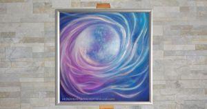 """""""Colors of Love (Sun)"""" - Marina Ravaioli Dimensioni 38 x 38,5 cm - Olio e pigmenti su legno MDF, finitura opaca. Sfera e onde a spirale, i colori dell'Amore."""